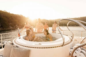 Relax in the 5 person Aquavia jacuzzi