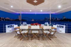 Spacious aft deck for meetings and casual dining
