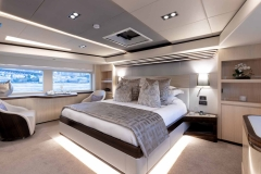 Beautiful owner's stateroom for overnight charters